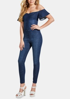 Guess Sala Off-The-Shoulder Denim Jumpsuit