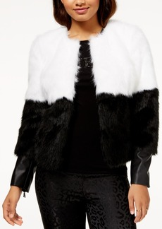 Guess Sammi Colorblocked Faux-Fur Coat
