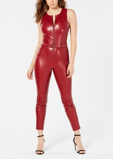 Guess Sandra Belted Faux-Leather Jumpsuit