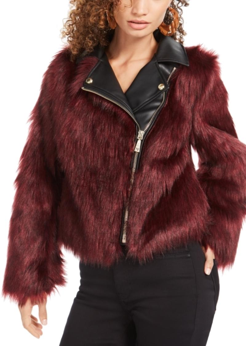 Guess Savage Faux-Fur Moto Coat
