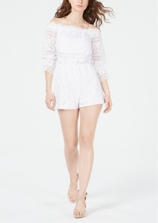 Guess Savina Off-The-Shoulder Lace Romper