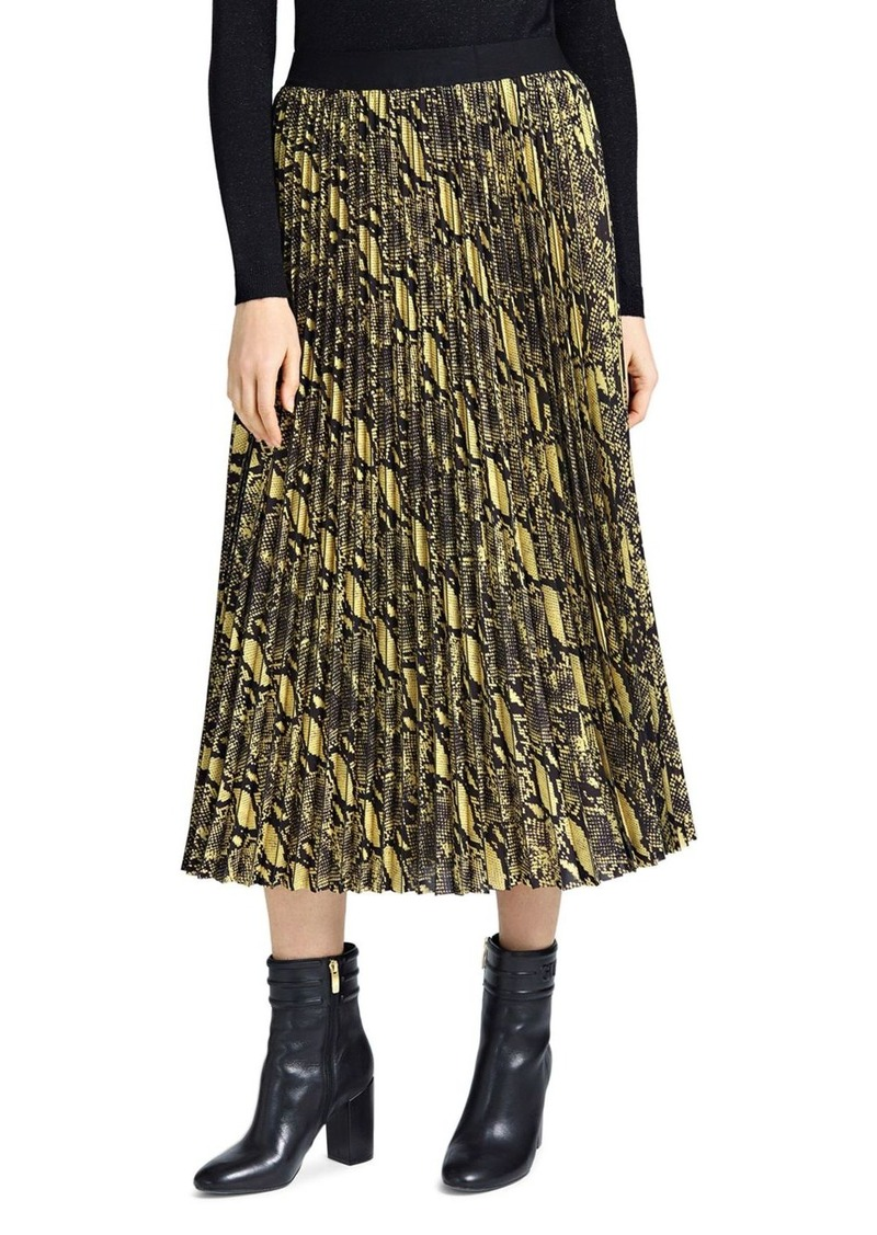 GUESS Savina Pleated Snake Print Skirt