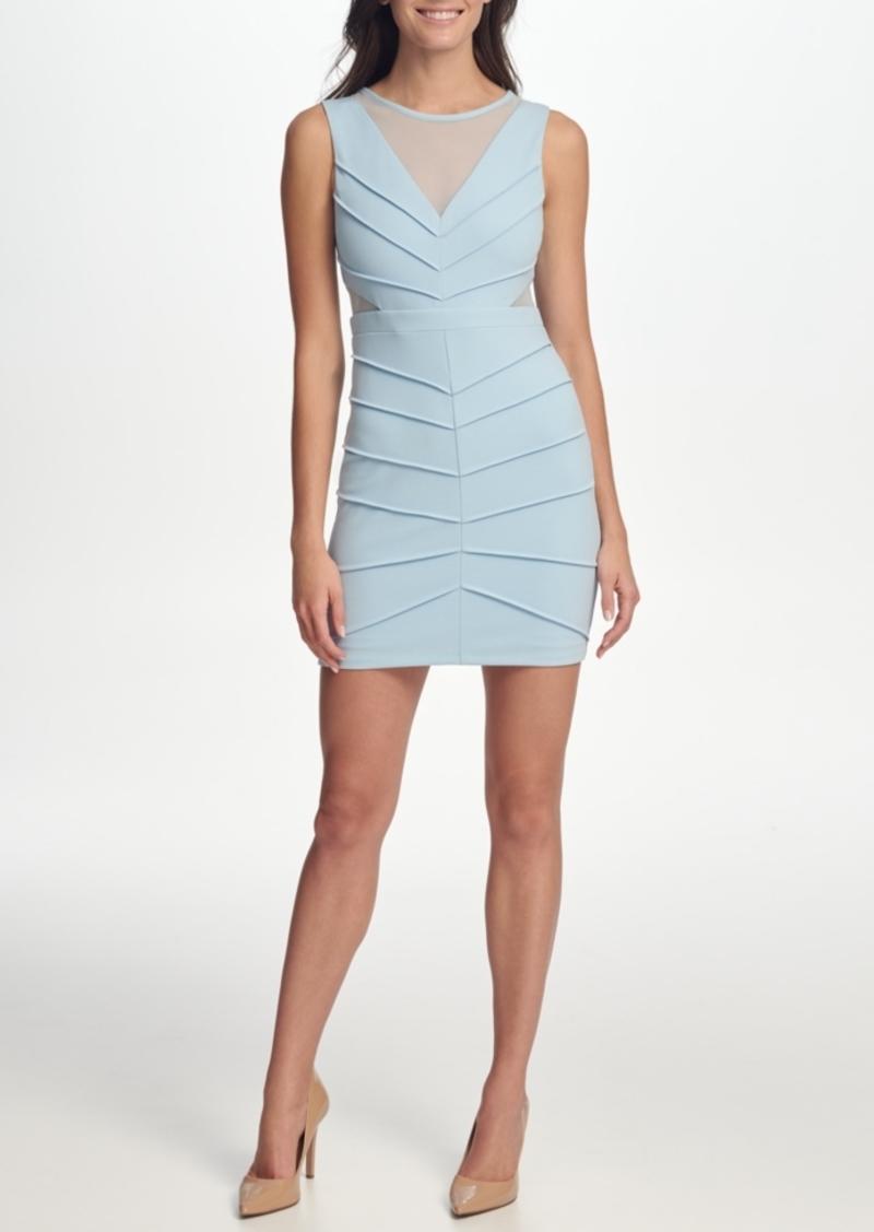 Guess Scuba Crepe Illusion-Neck Sheath Dress with Mesh Cutouts