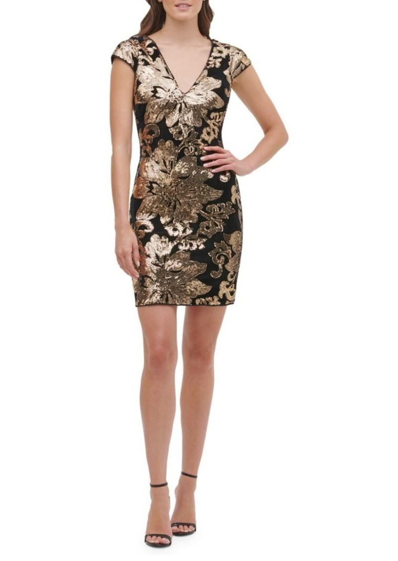 Guess Sequin Embroidered Velvet Sheath Dress
