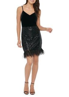 Guess Sequin Feather-Trimmed Velvet Sheath Dress