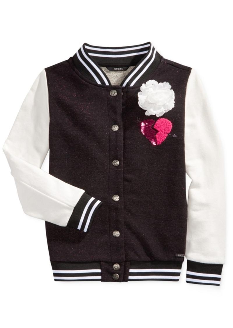 Guess Sequin Flower Bomber Jacket, Big Girls (7-16)