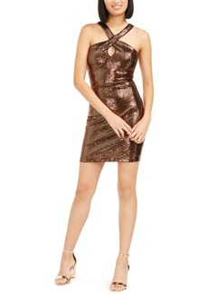 Guess Sequined Halter Sheath Dress