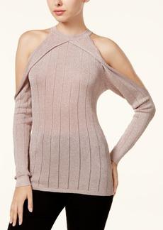 Guess Sera Sheer Metallic Cold-Shoulder Sweater