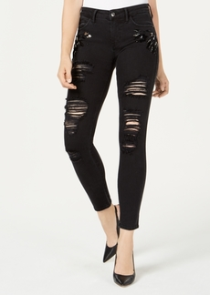 Guess Sexy Curve Ripped Rhinestone Skinny Jeans