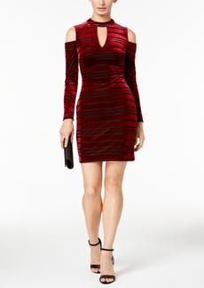 Guess Shadow-Striped Cold Shoulder Velvet Dress