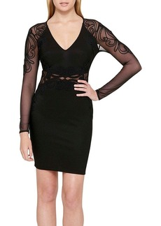 GUESS Sheer Illusion Embroidery Detail Dress