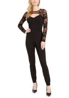 Guess Sheer Sleeve Cut-Out Jumpsuit