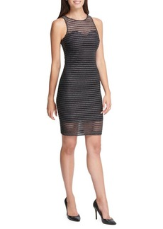 Guess Shimmer Shadow Striped Mini Bodycon Dress