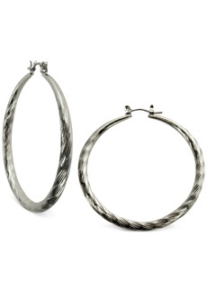 "Guess Silver-Tone 2"" Textured Hoop Earrings"