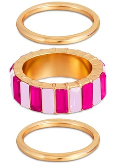 Guess 3-Pc. Set Multicolor Crystal Rings