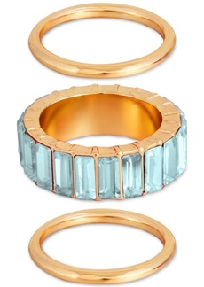 Guess Silver-Tone 3-Pc. Set Multicolor Crystal Rings