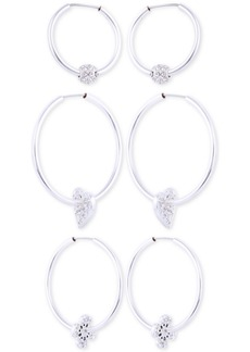 Guess Silver-Tone 3-Pc. Set Pave Charm Hoop Earrings