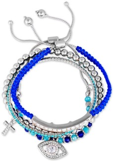 Guess Silver-Tone 4-Pc. Set Crystal Charm, Bead & Thread-Wrapped Bangle Bracelets