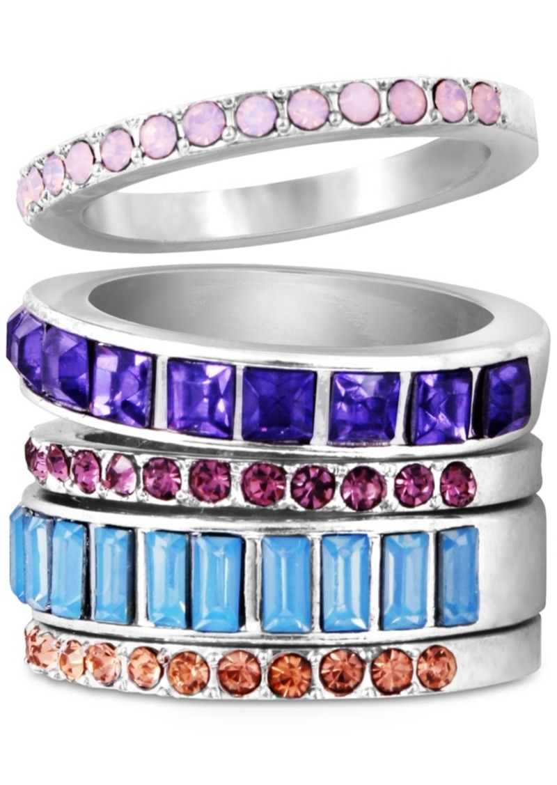 Guess Silver-Tone 5-Pc. Set Colored Crystal Stack Rings