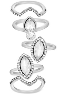 Guess Silver-Tone 5-Pc. Set Crystal Stack Rings