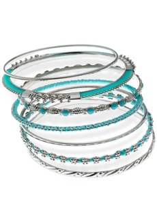 Guess Silver-Tone 7-Pc. Set Stone & Thread-Wrapped Bangle Bracelets, Created for Macy's