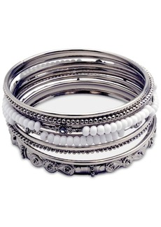 Guess Silver-Tone 9-Pc. Set Crystal & Bead Bangle Bracelets