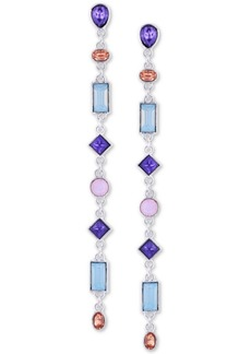 Guess Silver-Tone Crystal Linear Drop Earrings