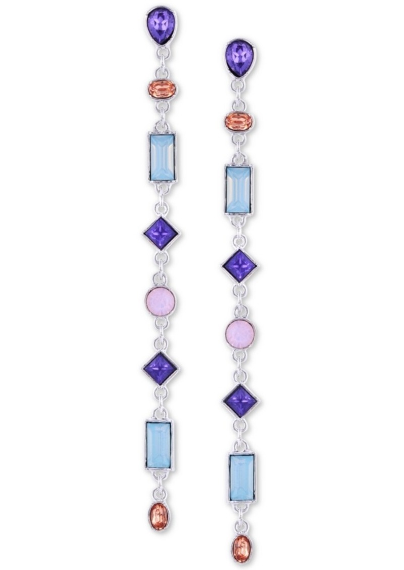 Guess Silver-Tone Crystal Linear Drop Earrings