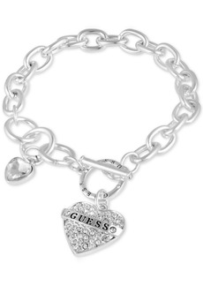 Guess Silver-Tone Crystal Logo Heart Charm Link Bracelet