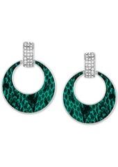 Guess Silver-Tone Pave & Python Animal-Print Drop Hoop Earrings