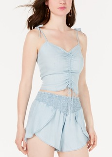 Guess Sleeveless Chambray Ruched Top