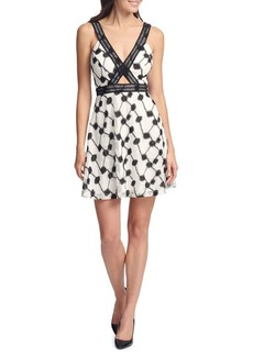 Guess Sleeveless Embroidered Cut-out Dress