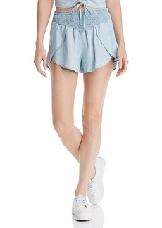 GUESS Smocked Chambray Shorts