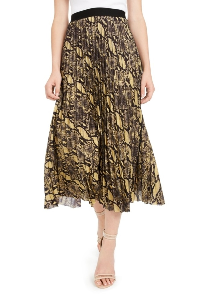Guess Snake Print Pleated Midi Skirt