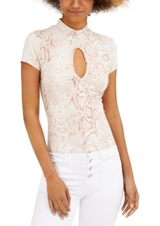 Guess Eco Snakeskin-Print Mock-Neck Top