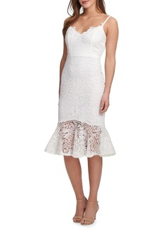 Guess Spaghetti-Strap Lace Trumpet Dress