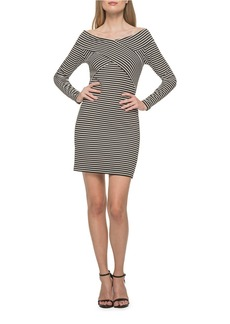 GUESS Striped Off the Shoulder Dress