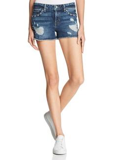 GUESS Studded Distressed Denim Shorts in Dark Wash