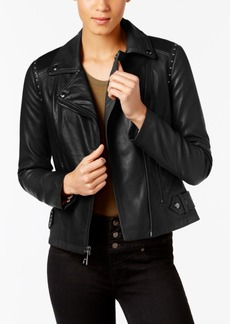 Guess Studded Faux-Leather Moto Jacket, A Macy's Exclusive