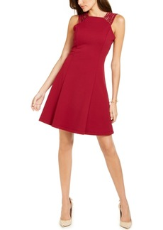 Guess Studded-Strap Fit & Flare Dress
