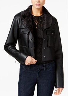 Guess Suki Faux-Fur-Trim Faux-Leather Jacket