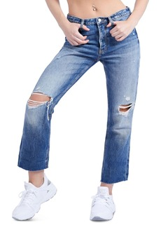 Guess The It Girl Cotton Distressed Cropped Jeans