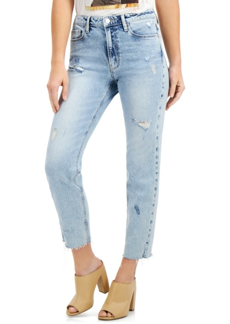 Guess The It Girl Distressed Raw-Hem Skinny Jeans