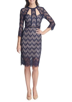 Guess Three-Quarter Sleeve Cut-Out Lace Sheath Dress