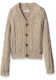 GUESS Boys' Toddler Long Sleeve Cable Knit Cardigan Sweater
