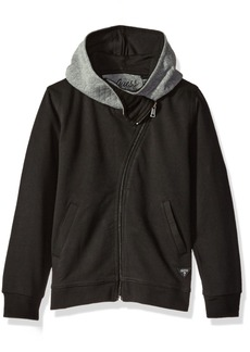 GUESS Boys' Toddler Long Sleeve Hooded Sweatshirt with Zip Noir/Jet Black A