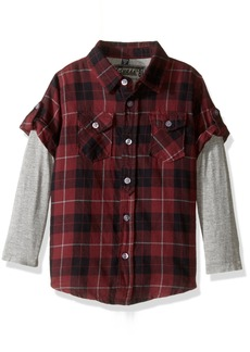 GUESS Boys' Toddler Long Sleeve Plaid Shirt