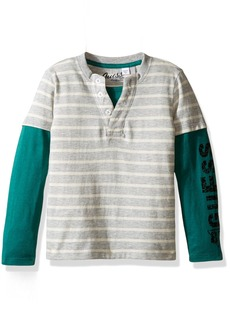 GUESS Toddler Boys' Long Sleeve Two-Fer Henley Grey/White Stripes