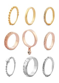 Guess Tri-Tone 9-Pc. Set Crystal Stacker Rings