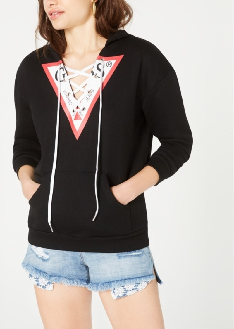 Guess Triangle-Logo Lace-Up Hoodie